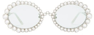 Gucci Crystal Round Metal Sunglasses - Womens - Silver
