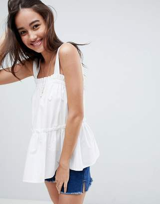 Asos DESIGN Swing Cami with Ruffle in Cotton