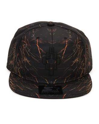 Marcelo Burlon Starter Catedral Printed Flat-Bill Cap, Black/Orange $100 thestylecure.com