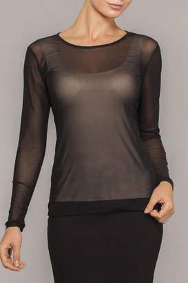 Elena Wang Black Sheer Top