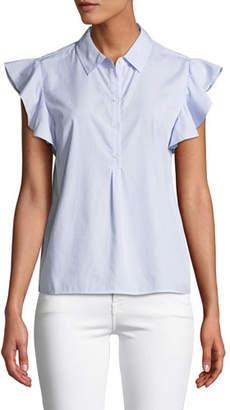 Frame Flounce Popover Button-Front Cotton Shirt
