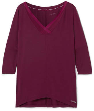 Calvin Klein Underwear Sculpted Mesh-trimmed Stretch-modal Pajama Top - Grape