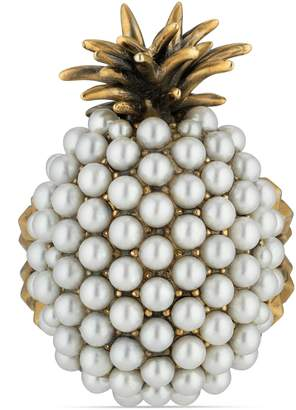 Gucci Pearl studded pineapple ring in metal