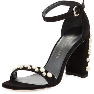 Stuart Weitzman Morepearls Suede Block-Heel Sandal $455 thestylecure.com