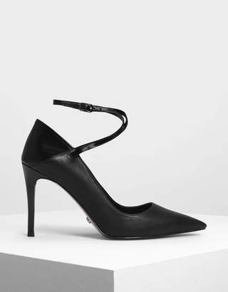 Charles & Keith Criss Cross Ankle Strap Leather Heels