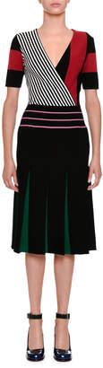 Tomas Maier Short-Sleeve Block-Stripe Dress