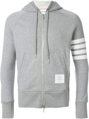Thom Browne Classic Full Zip Hoodie With Engineered 4-Bar Stripe In Classic Loop Back