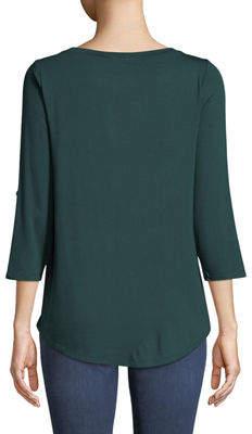 Neiman Marcus Tabbed-Sleeve Round-Hem Tee