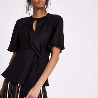 River Island Womens Black short sleeve tie front blouse