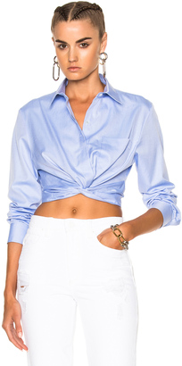 T by Alexander Wang Cotton Twill Twist Front Long Sleeve Shirt $275 thestylecure.com