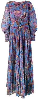 Etro Floral Print Pleated Maxi Dress
