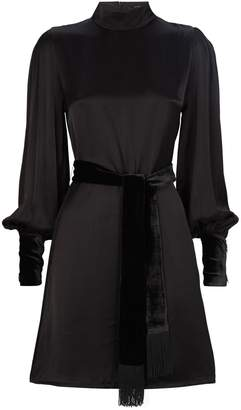 Mother of Pearl Satin Tie-Waist Mini Dress