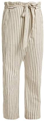 Masscob Paper Bag Waist Striped Trousers - Womens - White Navy