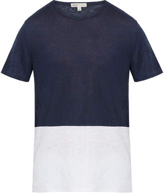 Onia Chad Color Block Linen Blend T Shirt