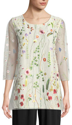 Caroline Rose Garden Walk Embroidered Layered Tunic, Petite