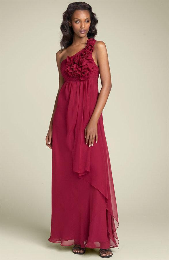 ABS by Allen Schwartz One Shoulder Chiffon Gown with Rosettes