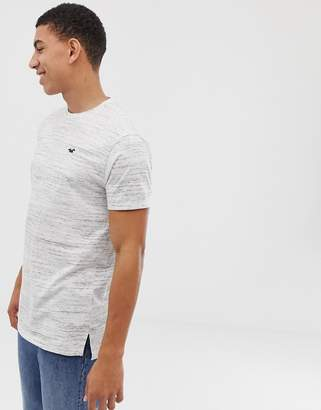 Hollister Longline Crew Neck T-Shirt Seagull Logo in White Marl