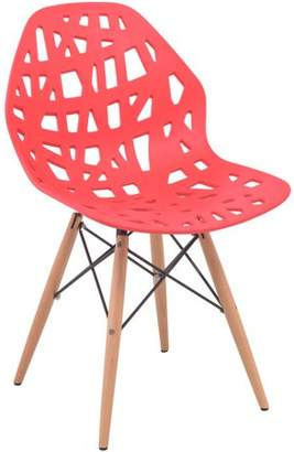 Mid-Century MODERN LeisureMod Akron Dining Side Chair With Wood Dowel Legs in Red