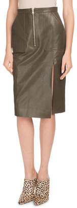 Altuzarra Side-Slit Calf Leather Knee-Length Pencil Skirt