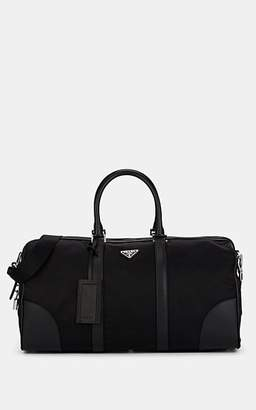 Prada Men's Leather-Trimmed Duffel Bag - Black