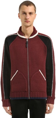 Coach Zip-up Wool Blend Knit Cardigan Jacket