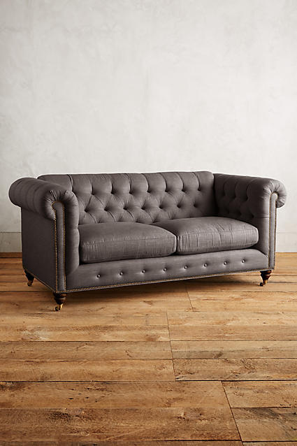 Anthropologie Anthropologie Linen Lyre Chesterfield Petite Sofa, Hickory