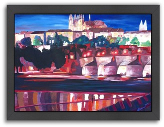 Americanflat ''Prague Hradschin Charles Bridge'' Framed Wall Art