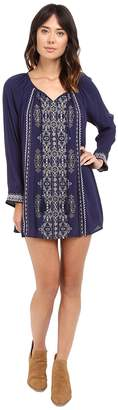 Brigitte Bailey Lyna Dress with Embroidery and Tassel Tie Women's Dress