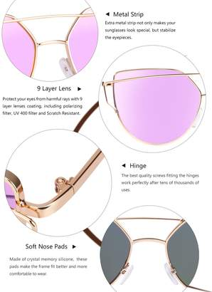 Cat Eye Elimoons Mirrored Flat Lenses Street Fashion Metal Frame Women Sunglasses, Black/Blue