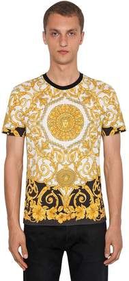Versace Gold Heritage Hibiscus Printed T-Shirt