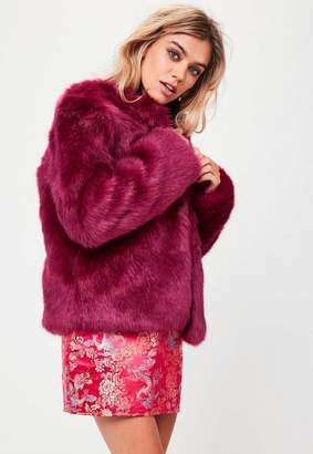 Missguided Pink Collarless Faux Fur Coat