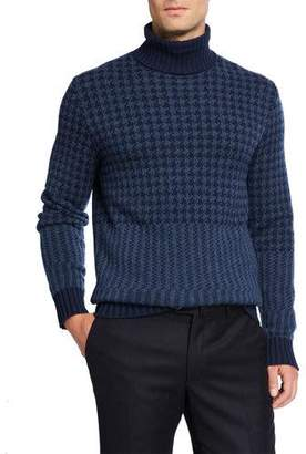 Loro Piana Men's Cabled Herringbone Cashmere Turtleneck Sweater