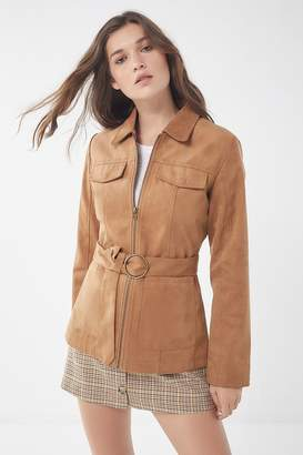 Urban Outfitters Faux Suede Belted Safari Jacket