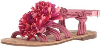 Sam Edelman Women's Bice Flat Sandal, Lemonade/Mulberry Pink
