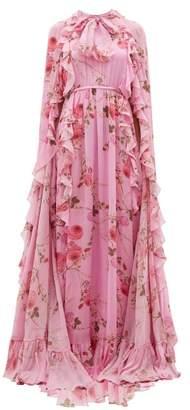 Giambattista Valli Peony Print Ruffle Trimmed Silk Cape Gown - Womens - Pink Multi