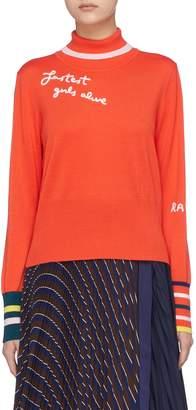 Mira Mikati 'Fastest Girls Alive' slogan embroidered turtleneck sweater