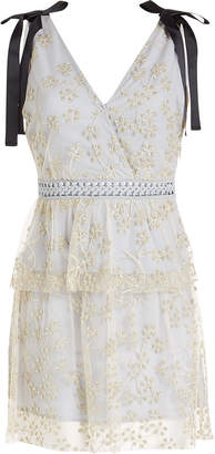 Self-Portrait Lace Dress with Ribbon-Tie Straps