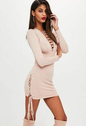 Missguided Nude Lace Up Side Bodycon Knit Dress