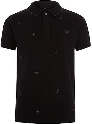 River Island Boys black Fleur De Lis embroidery polo shirt