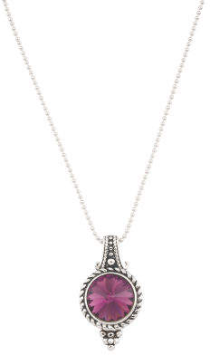 Sterling Silver Swarovski Crystal Amethyst Beaded Necklace