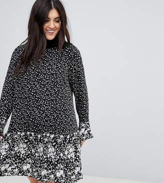New Look Plus Curve Mono Mix Floral Print Frill Sleeve Dress
