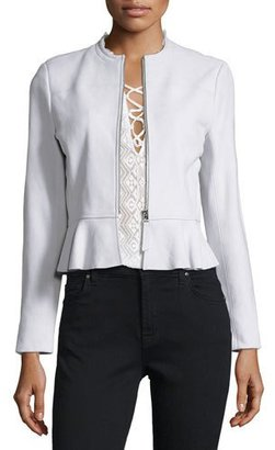 Rebecca Taylor Lambskin Leather Peplum Jacket, Pale Glacier $995 thestylecure.com