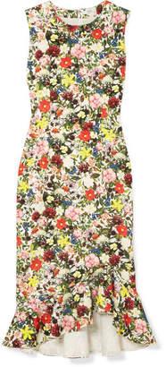 Erdem Louisa Ruffled Floral-print Ponte Dress - Green