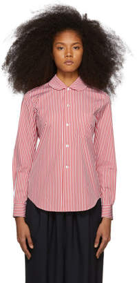Comme des Garcons Red and White Striped Peter Pan Collar Shirt