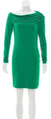 Halston Long Sleeve Cowl Neck Dress
