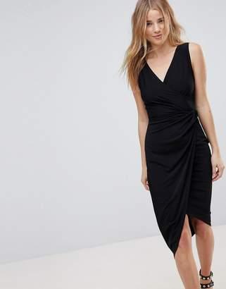 Wal G Wrap Front Midi Dress
