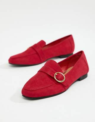 Head Over Heels by Dune Gisellaa Red Suedette Buckled Flat Loafer Shoes