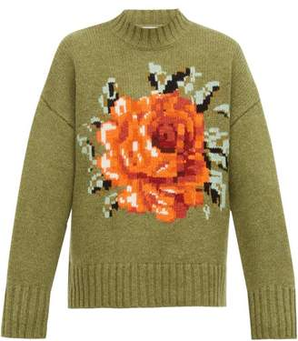 Ami Oversized Floral Intarsia Wool Sweater - Mens - Green