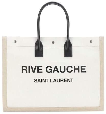 Saint Laurent Rive Gauche leather-trimmed shopper
