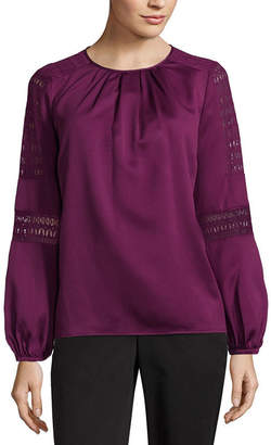 Liz Claiborne Long Sleeve Woven Lace Blouse - Tall